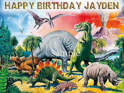 DINOSAURS Edible Birthday CAKE Decoration ICING Image Topper