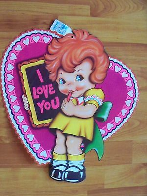 "Girl w/ Valentine Heart Die cut Cutout Decoration Vintage 1983 Beistle 15""x 13"""