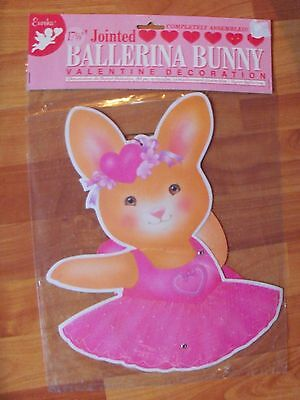 "Vintage 1995 17 5/8"" Ballerina Bunny Jointed Valentines Decoration Assembled NOS"