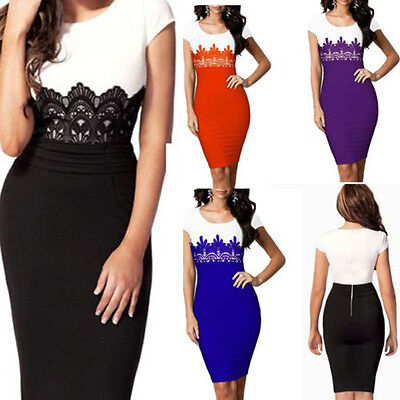 Sexy Women Short Sleeve OL Lady Evening Party Gown Prom Lace Mini Dress Black