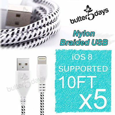 5x 10FT Braided Nylon Charger Data Sync USB Cable cord for iPhone 5 5C 5S 6 Plus