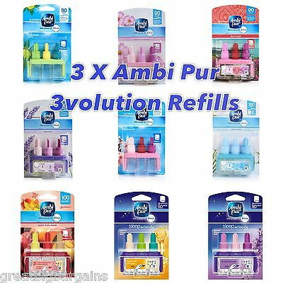 3 x AMBI PUR 3VOLUTION OFFICIAL FEBREZE FRAGRANCE REFILLS - 17 scents to choose!