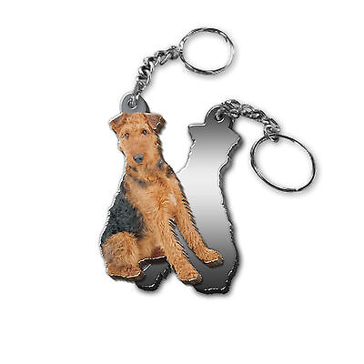 Got Yo Gifts Mirrored Acrylic Keyring Key Chain NEW Airedale Terrier