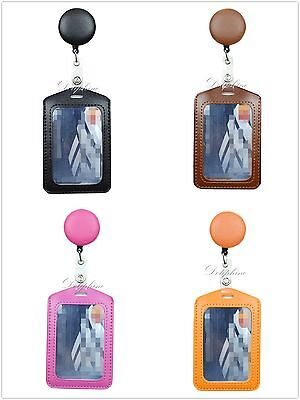 2 in 1 PU Leather Retractable Reel and Vertical ID Badge Holder