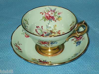 HAMMERSLEY TEA CUP AND SAUCER - SEA FOAM GREEN & GOLD GILD FLORAL PATTERN TEACUP