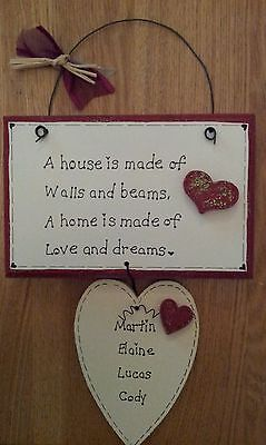 Handmade personalised Family New home gift wooden plaque sign