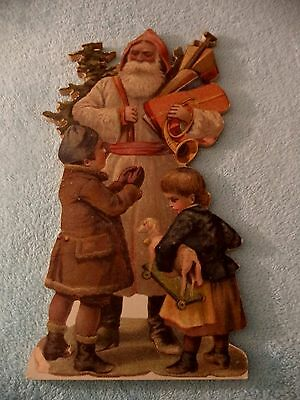 16 INCH  WOOD CUT OUT OLD WORLD SANTA  WITH VICTORIAN CHILDREN - STUNNING! -EUC!