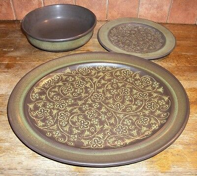 Set of Franciscan Madeira Serving Platter & Bowl Brown Green Flowers RETIRED