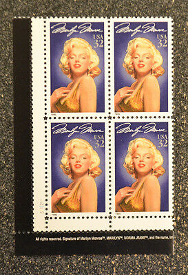 1995USA #2967 32c Marilyn Monroe - Legends of Hollywood - Mint Plate Block of 4