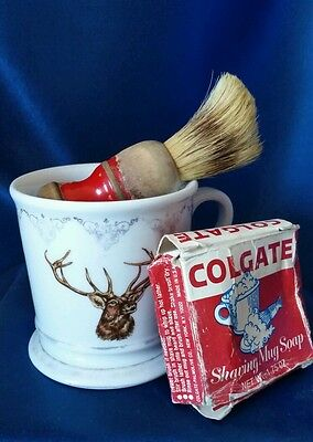 Antique Elk/Deer Shaving or Mustache Mug w/ Brush, Soap, & Colgate Soap Box