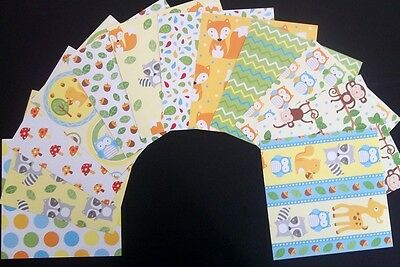 """Colourful *FOREST FRIENDS*  Scrapbooking Papers 15cm x 15cm (6"""" x 6"""")"""