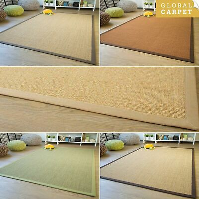 100% Natural Fibre Sisal Rug Brazil Cotton Border Antislip Back Small - X-Large