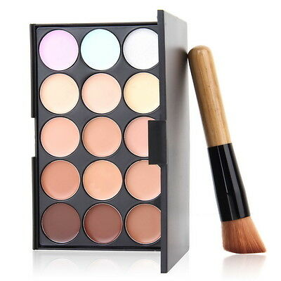 Party 15 Colors Contour Face Cream Makeup Concealer Palette + Powder Brush DX