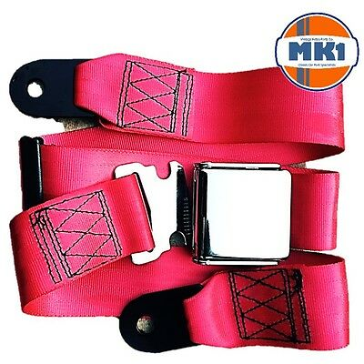 Classic Vintage Car 2 Point Seat Lap Safety Belt Chrome Buckle Red Adjustable