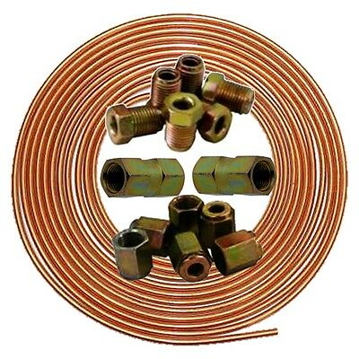 brake pipe copper line 25ft joiner male female nuts ends tubing joint kit 3/16
