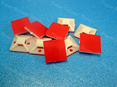 15pcs 7/8 Cable Wire Tie Square Mount Pad with 3M VHB Red Self Adhesive Tape