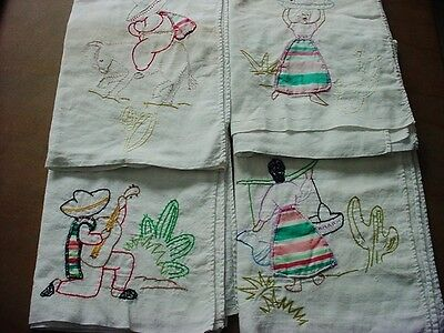 4 Vtg Set Kitchen Dish TOWELS  Mexican People Applique Embroidered Feed Sack