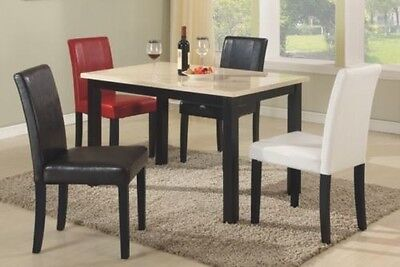 Set of 2 Elegant Design Modern Leather Parsons Dining Chairs Furniture