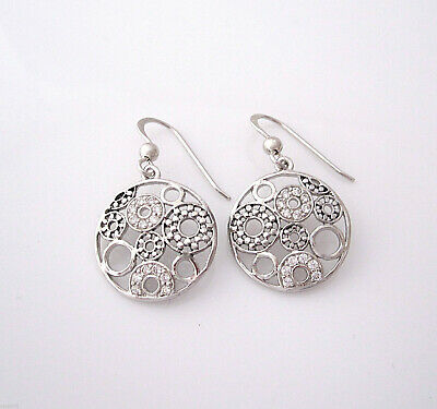 Rhodium plated 925 Sterling Silver CZ CIRCLES round dangle earrings