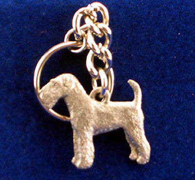 GG Harris Fine Pewter Dog Key Ring Chain & Pouch NEW Airedale Terrier