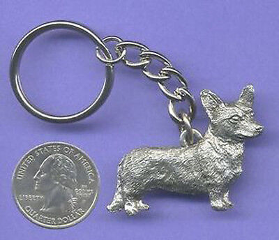 GG Harris Fine Pewter Dog Key Ring Chain & Pouch NEW Cardigan Welsh Corgi