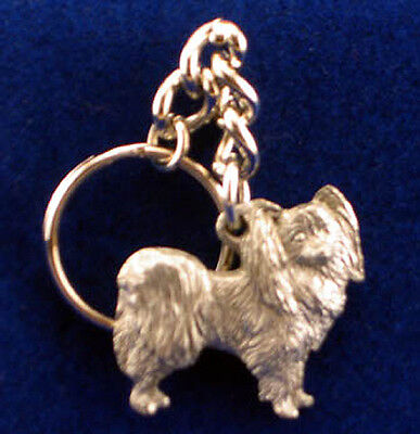 GG Harris Fine Pewter Dog Key Ring Chain & Pouch NEW Papillon