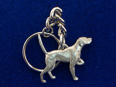 GG Harris Fine Pewter Dog Key Ring Chain & Pouch NEW Pointer
