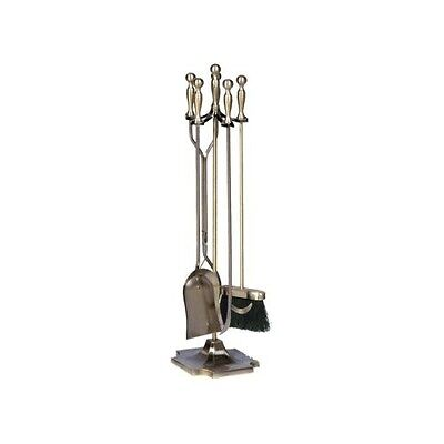 Fireplace Tool Set 5 Piece Antique Brass Fire Place Tools Stand Holder Vintage
