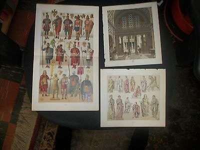 Color Lithos from Le Costume by A. Racinet, 1876, ROMAIN lithos by Nordmann