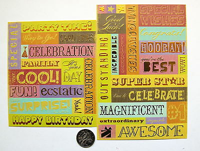 Scrapbooking No 263 - 25+ Die Cut Birthday Saying Stickers - Sale To Clear