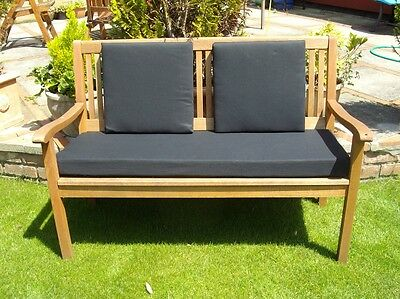 Garden Bench Cushion - With Or Without Back Pads - Black - 2 Sizes