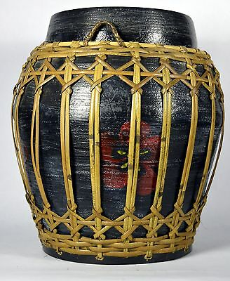 Vintage Ornate Hand Painted Thailand Asian Storage Basket Bamboo & Rattan