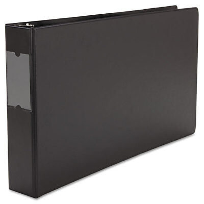 Wide Base Round Ring Binder With Label Holder, 2'' Capacity, 11 x 17, Black