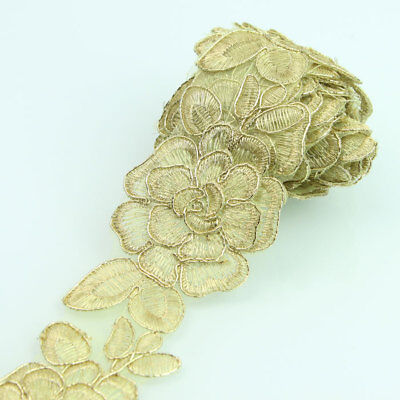 Vintage Flower Lace Trim  2yds Metalic Gold Bridal Ribbon Applique Sewing Craft