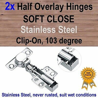 2x Door Kitchen Cabinet Cupboard Soft Close Half Overlay Hinges -Stainless Steel