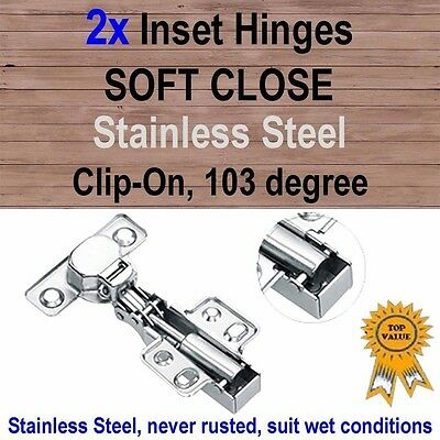 2x Door Kitchen Cabinet Cupboard Soft Close Inset Hinges -Stainless Steel