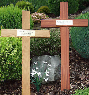 "48"" Tall Oak Mahogany Wooden Memorial Cross, Wood Grave Marker Engraved Plaque"