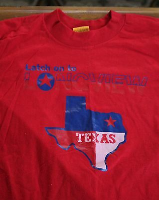 Vintage 1980's Latch on to Longview Texas t-shirt T-Plus 50/50 Red Hispter Soft