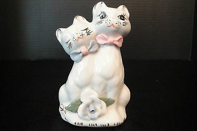 Valentine Cat Ceramic Figurine Boy Girl Sweethearts Hugging Bow Ties and Flower