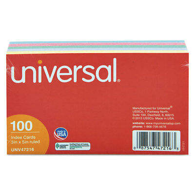Index Cards, 3 x 5, Blue/Violet/Green/Cherry/Canary, 100/Pack