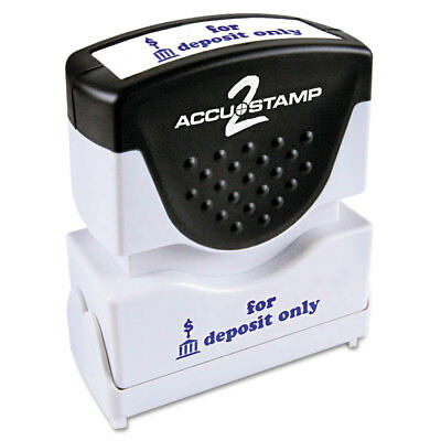 Accustamp2 Shutter Stamp with Microban, Blue, FOR DEPOSIT ONLY, 1 5/8 x 1/2