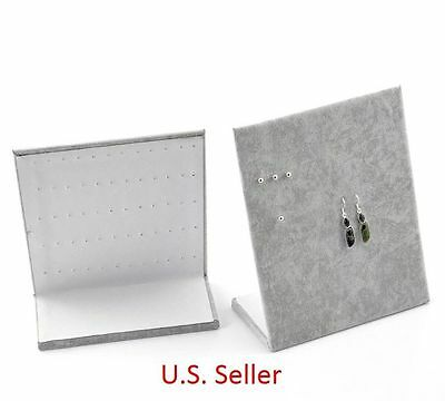 "60 Holes ""L"" Earring Display Stand Jewelry Display Stand Board Gray Velvet USA"
