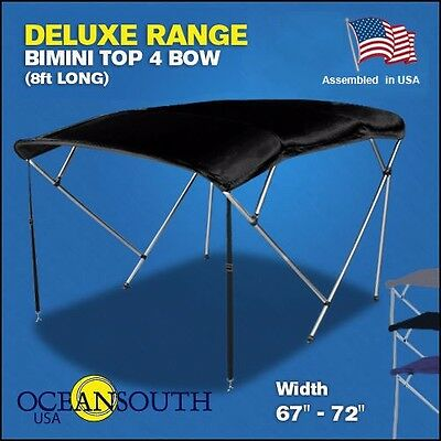 "BIMINI TOP 4 Bow Boat Cover Black 67""-72"" Wide 8ft Long With Rear Poles"