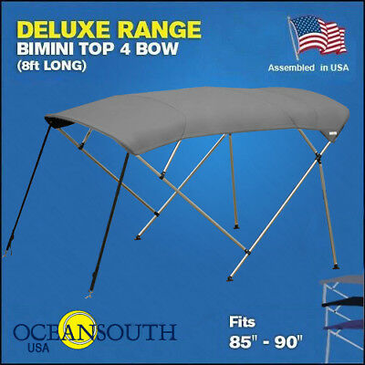 "BIMINI TOP 4 Bow Boat Cover Gray 85""-90"" Wide 8ft Long With Rear Poles"
