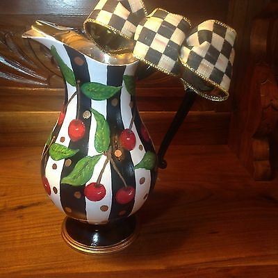 hand painted vintage silver plate water pitcher with Mckenzie Childs ribbon bow
