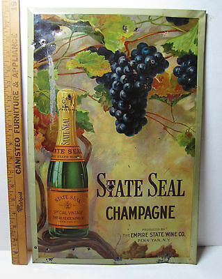 SUPER  RARE State Seal Champagne Wine TIN Litho Sign Penn Yan NY 1890 Keuka Lake