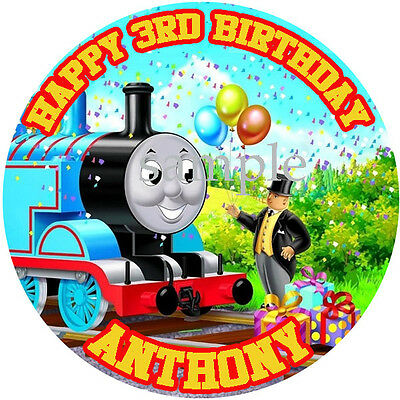 THOMAS the TANK Round Edible ICING Image Birthday CAKE Topper Decoration