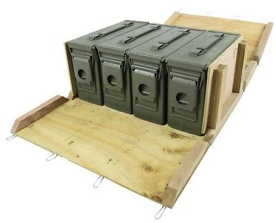 4 - M19A1 30cal Ammo Cans / Ammo Box in Military Surplus Wood Ammo Crate
