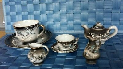 7 Piece set MORIAGE DRAGONWARE cups, saucers, teapot,  pitcher Gray & Black