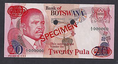 Botswana 20 Pula ND 1982 P10as Specimen TDLR Uncirculated